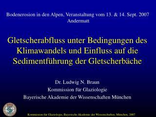 Dr. Ludwig N. Braun Kommission für Glaziologie Bayerische Akademie der Wissenschaften München