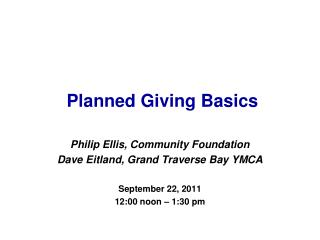 Planned Giving Basics