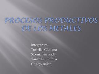 PROCESOS PRODUCTIVOS DE LOS METALES