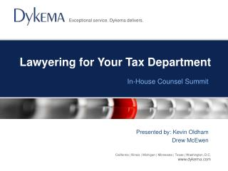 Lawyering for Your Tax Department