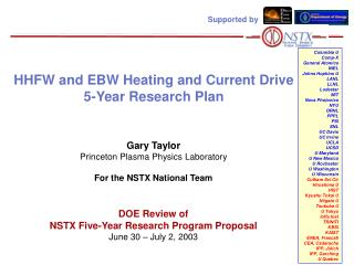 HHFW and EBW Heating and Current Drive 5-Year Research Plan