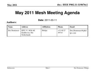 May 2011 Mesh Meeting Agenda
