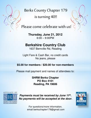Berks County Chapter 179  is turning 40!!