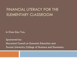 Financial literacy for the Elementary classroom