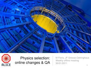 Physics selection: online changes & QA