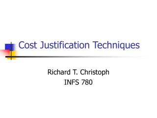 Cost Justification Techniques