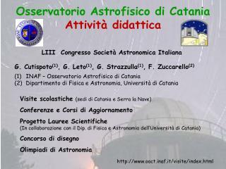 Osservatorio Astrofisico di Catania Attività didattica
