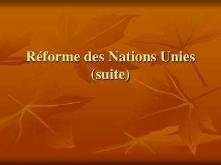 Réforme des Nations Unies (suite)