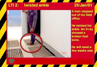 LTI 2:     twisted ankle                       29/Jan/01
