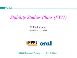 Stability Studies Plans (FY11)