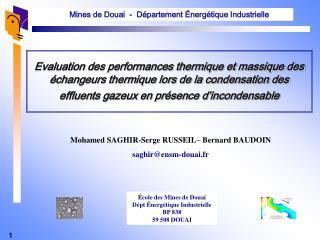 Evaluation des performances thermique et massique des  changeurs thermique lors de la condensation des effluents gazeux
