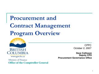 Procurement and Contract Management Program Overview