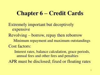 Chapter 6 – Credit Cards