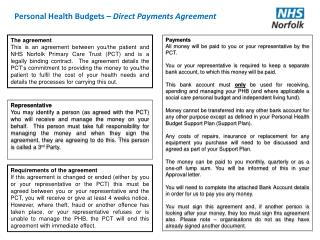 Personal Health Budgets  – Direct Payments Agreement