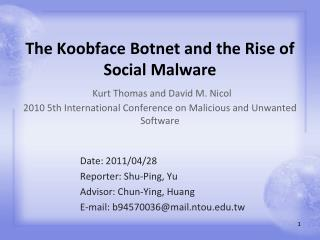Date: 2011/04/28 Reporter: Shu-Ping, Yu Advisor: Chun-Ying, Huang