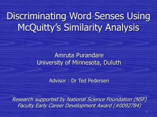 Discriminating Word Senses Using  McQuitty's Similarity Analysis