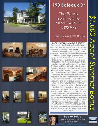 190 Bateaux Dr The Ponds Summerville MLS#  1417378 $323,999 3 Bedrooms | 2 ½  Baths