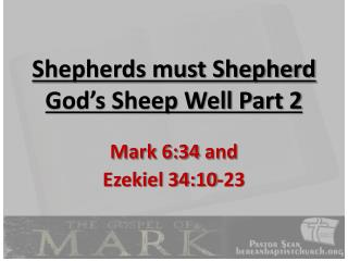 Shepherds must Shepherd God's Sheep Well Part 2