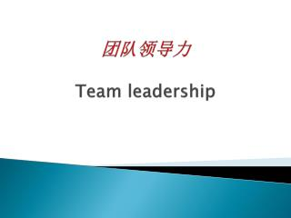 团队领导力 Team leadership