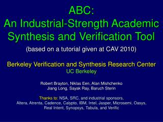 Berkeley Verification and Synthesis Research Center UC Berkeley