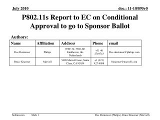P802.11s Report to EC on Conditional Approval to go to Sponsor Ballot