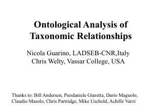 Ontological Analysis of Taxonomic Relationships