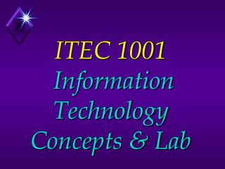 ITEC 1001   Information Technology Concepts & Lab