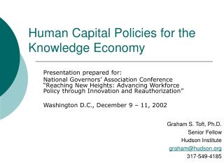 Human Capital Policies for the Knowledge Economy