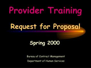 Provider Training Request for Proposal