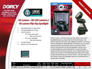 65 Lumen – 4D LED Lantern /  45 Lumen Flip-Top Spotlight Retractable Built-In Hang Hook
