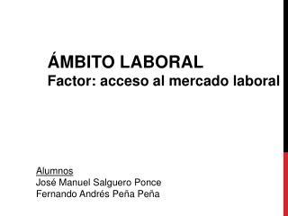 ÁMBITO LABORAL Factor: acceso al mercado laboral