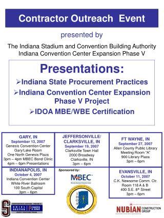 Presentations:  Indiana State Procurement Practices