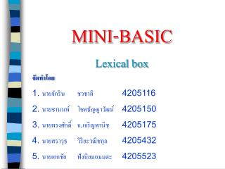 MINI-BASIC  Lexical box