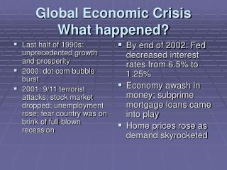 Global Economic Crisis What happened?