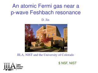 An atomic Fermi gas near a  p-wave Feshbach resonance