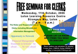 FREE SEMINAR FOR CLERKS