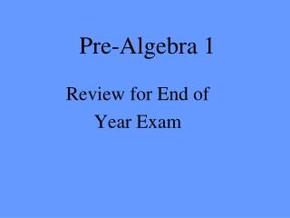 Pre-Algebra 1