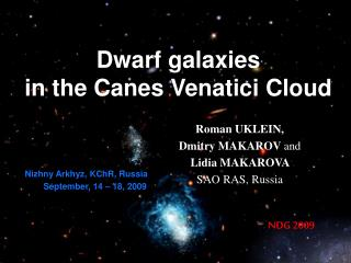 Dwarf galaxies  in the Canes Venatici Cloud