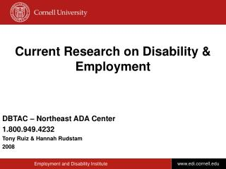 Current Research on Disability & Employment