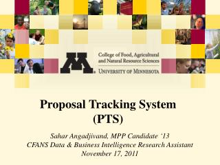 Proposal Tracking System  (PTS)