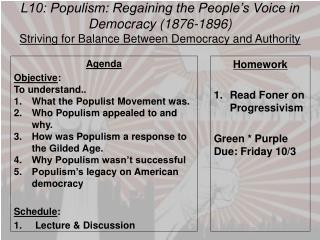 L10:  Populism:  Regaining the People�s Voice in Democracy (1876-1896)