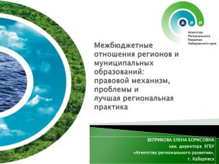 ВЕПРИКОВА ЕЛЕНА БОРИСОВНА  зам. директора  КГБУ «Агентство регионального развития», г. Хабаровск
