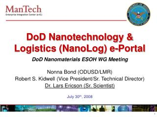 DoD Nanotechnology & Logistics (NanoLog) e-Portal