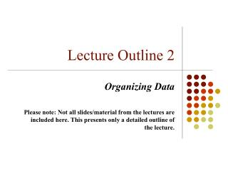 Lecture Outline 2