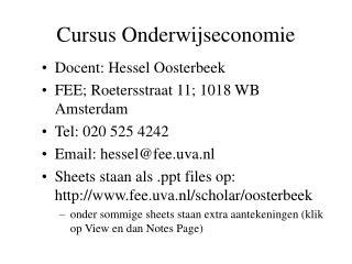 Cursus Onderwijseconomie
