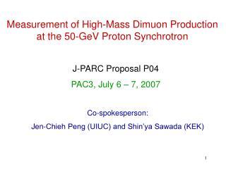 Measurement of High-Mass Dimuon Production at the 50-GeV Proton Synchrotron