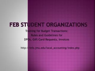 FEB Student Organizations