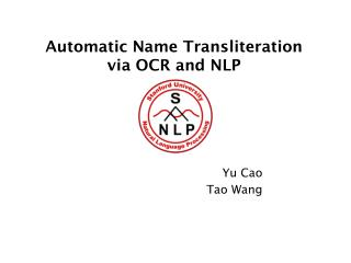 Automatic Name Transliteration  via OCR and NLP