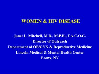 WOMEN & HIV DISEASE