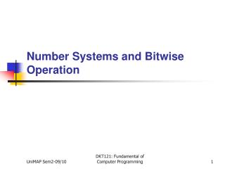 Number Systems and Bitwise Operation